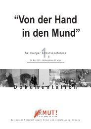 1. Sbg. Armutskonferenz 05/2001 – Von der Hand in den Mund