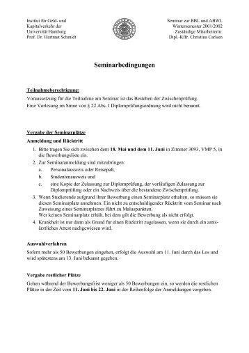 Seminarbedingungen - Universität Hamburg