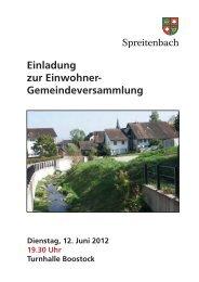 2012, Einladung Gemeindeversammlung vom 12.06.2012