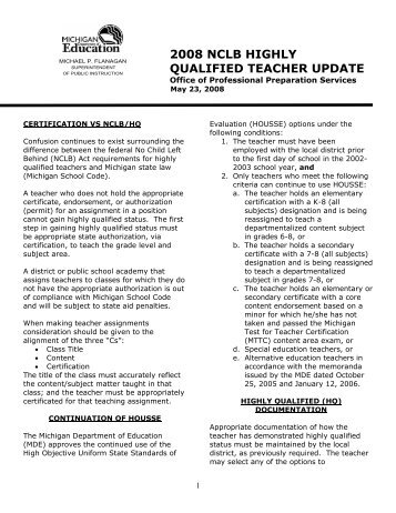HOUSSE NCLB Teacher Requirements: Certificate of Compliance