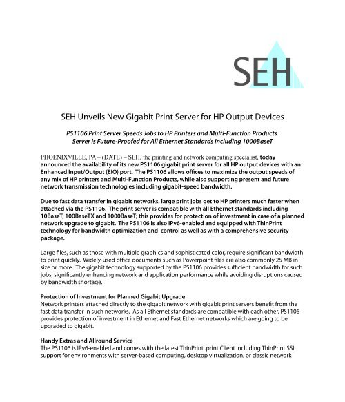 SEH Unveils New Gigabit Print Server for HP Output Devices