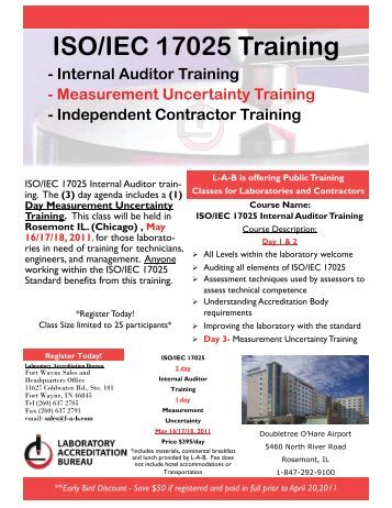 ISO/IEC 17025 Training - Laboratory Accreditation Bureau
