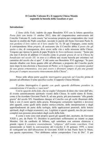 Il Concilio Vaticano II e il rapporto Chiesa Mondo ... - Webdiocesi