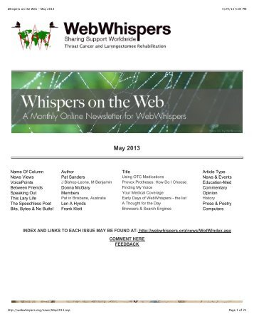Whispers on the Web - May 2013 - WebWhispers Nu-Voice Club