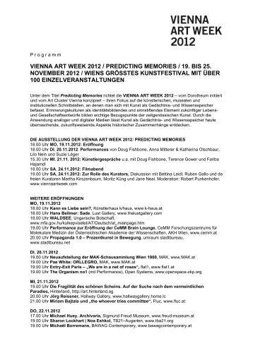 vienna art week 2012 / predicting memories / 19. bis ... - w.hoch.2wei