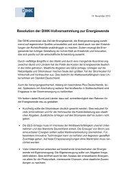 Resolution der DIHK-Vollversammlung zur Energiewende