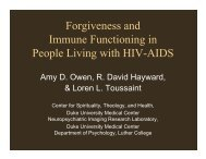 Forgiveness and Immune Functioning in People Living with HIV-AIDS