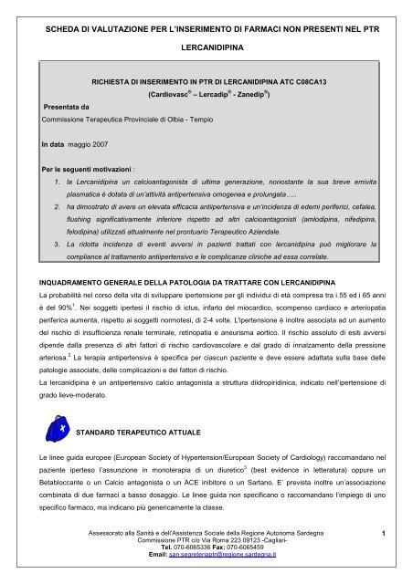 SCHEDA DI VALUTAZIONE PER L ... - Sardegna Salute