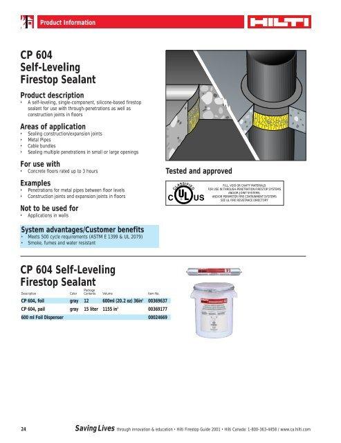CP 604 Self-Leveling Firestop Sealant - Brock White