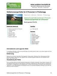 Selbstversorgerhütte für 6 Personen in Preitenegg - Outdoor-Touristik