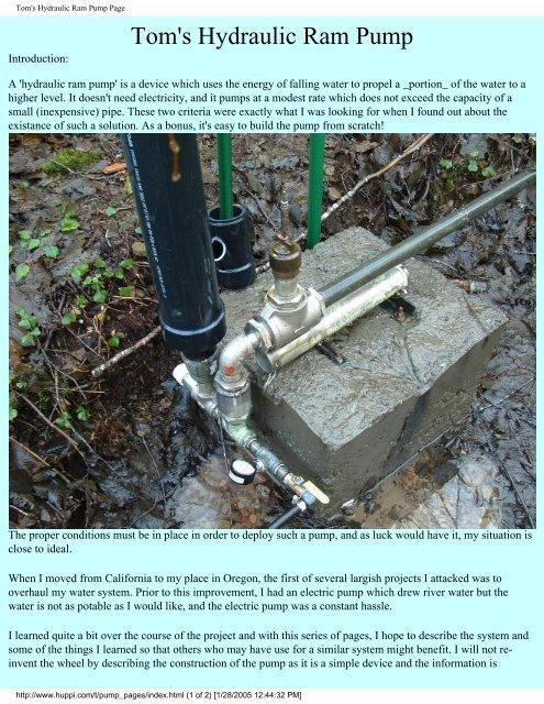 [ANLQ_8698]  Tom's Hydraulic Ram Pump Page - Pole Shift Survival Information | Toms Water Pump Wiring Diagram |  | Yumpu