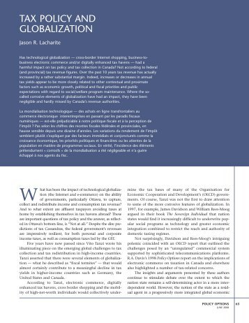 TAX POLICY AND GLOBALIZATION - Institute for Research on ...