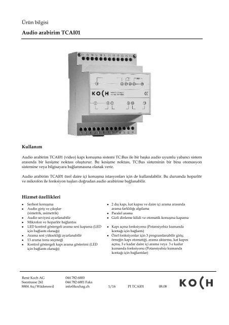 Audio arabirim TCAI01 - TCS Kapı İletişim ve Bina Otomasyon Ltd.Şti