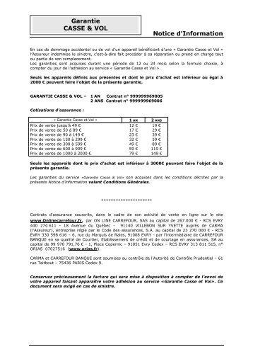 veuillez consulter la Notice d'information Assurance ... - E-Merchant