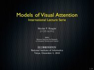 Models of Visual Attention - International Lecture ... - 国立情報学研究所