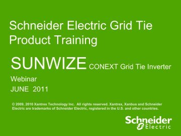 Schneider Electric Grid Tie Product Training - SunWize ...