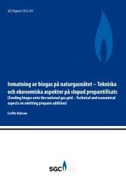 Inmatning av biogas på naturgasnätet – Tekniska och ... - SGC