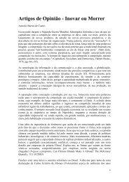 Artigos de Opinião - Inovar ou Morrer - Instituto de Economia da UFRJ