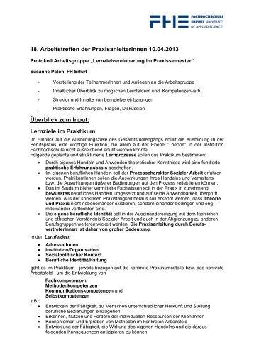 Lernzielvereinbarung im Praxissemester - Fachhochschule Erfurt