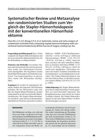 Systematischer Review und Metaanalyse von randomisierten ...