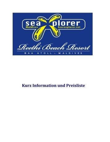 Kurz Information und Preisliste - Reethi Beach Resort