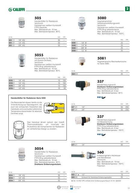 Caleffi 507721 automatischer Schnellentlüfter Radiatoren AERCAL 1 1//4''AG links