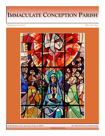 May 19, 2013: Pentecost Sunday - Immaculate Conception Parish
