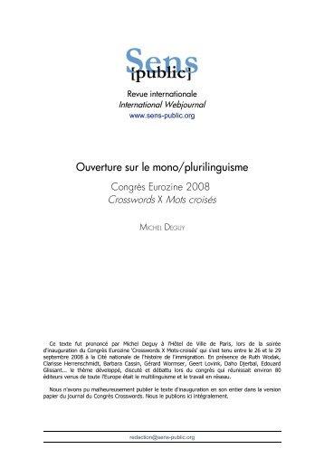 Texte en PDF - Sens Public