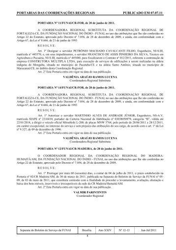 portarias das coordenações regionais publicado em 07.07.11 - Funai