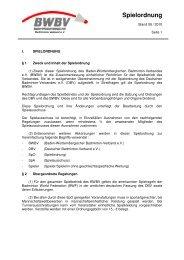Spielordnung - Baden - Württembergischer  Badminton - Verband