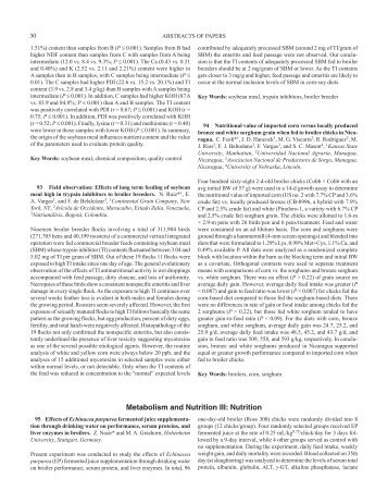 Metabolism and Nutrition III: Nutrition - Poultry Science Association