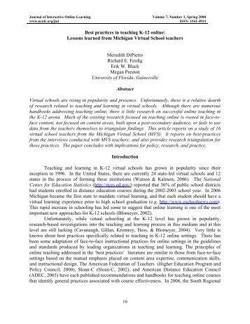 Best practices in teaching K-12 online - Journal of Interactive Online ...