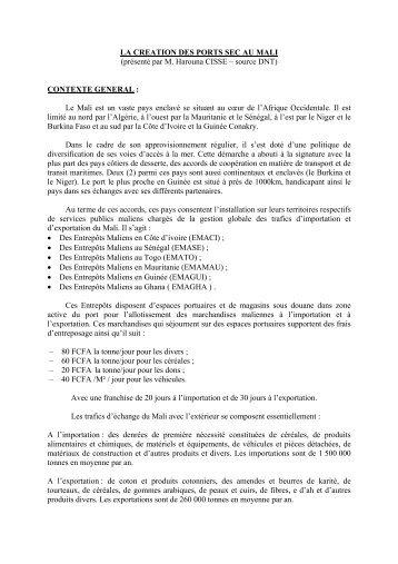 LA CREATION DES PORTS SEC AU MALI (présenté par M ...