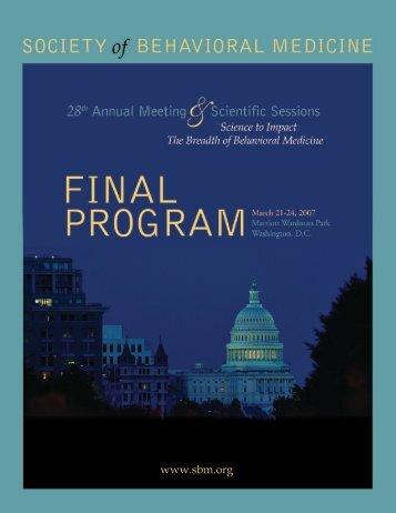2007 Final Program - Society of Behavioral Medicine