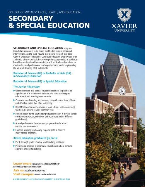 Secondary & Special Education Fact Sheet - Xavier University