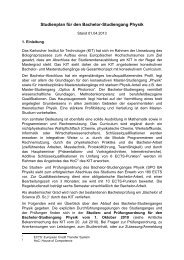 Studienplan zur PO2010 Bachelor Physik - Fakultät für Physik - KIT