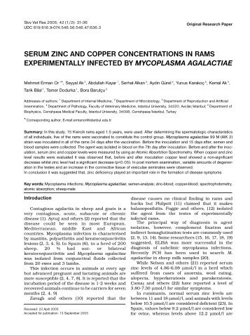 Serum zinc and copper concentrations in rams - Slovenian ...