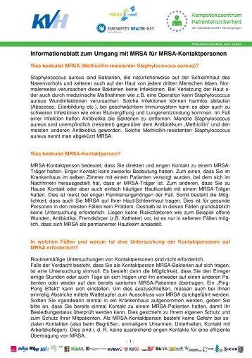 Informationsblatt zum Umgang mit MRSA für MRSA ... - KVHH