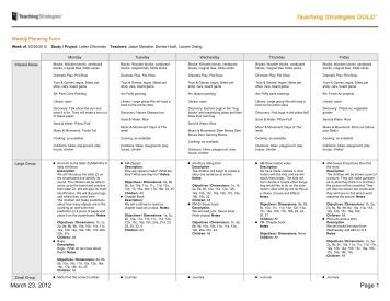 Teaching strategies gold weekly planning form for Teaching strategies gold lesson plan template