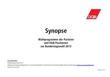 DGB-Synopse: Wahlprogramme im Vergleich - GEW