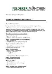 Die neue Technische Preisliste 2011 - Felderer