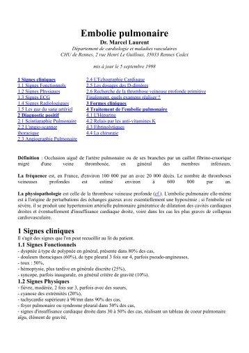physiopathologie de l embolie pulmonaire pdf free