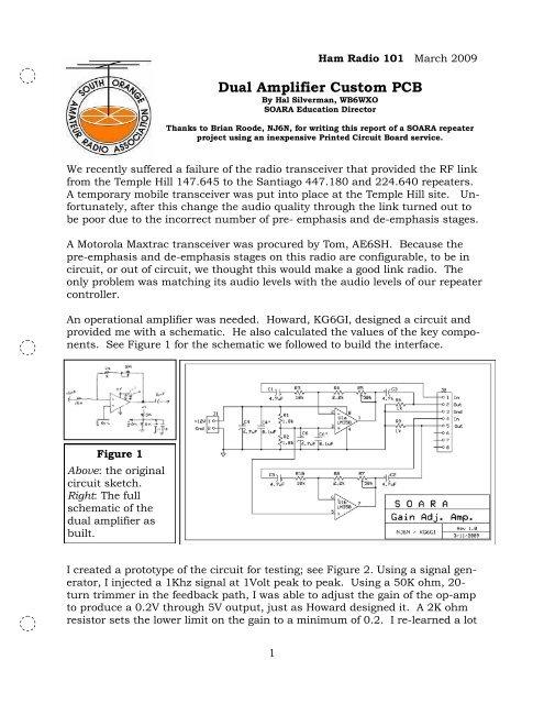 Dual Amplifier Custom PCB
