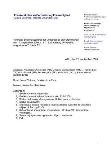 11. september 2009 - Institut for Sociologi og Socialt Arbejde ...