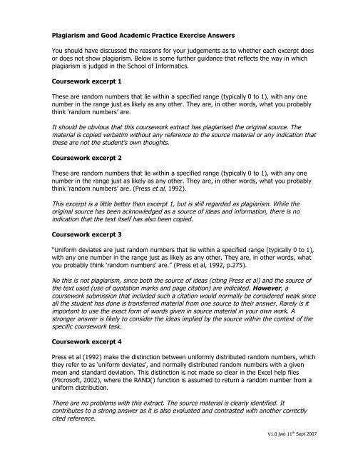 Worksheet with answers and context for students - School of ...