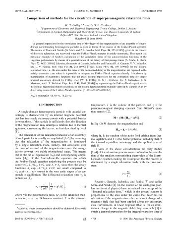 Comparison of methods for the calculation of superparamagnetic ...