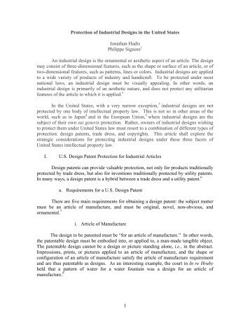 Protection of Industrial Designs in the United States - Oblon Spivak ...