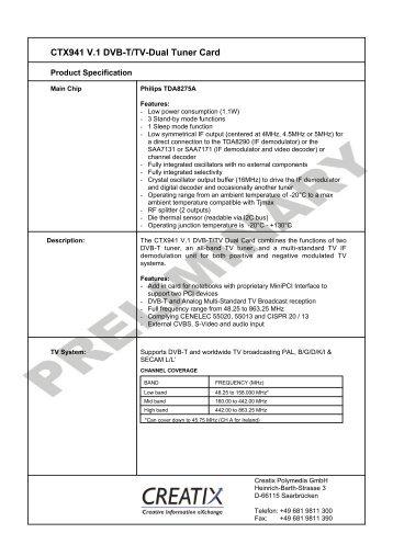 CTX941 V.1 Dvb-T/Tv-Dual Tuner Card - CREATIX