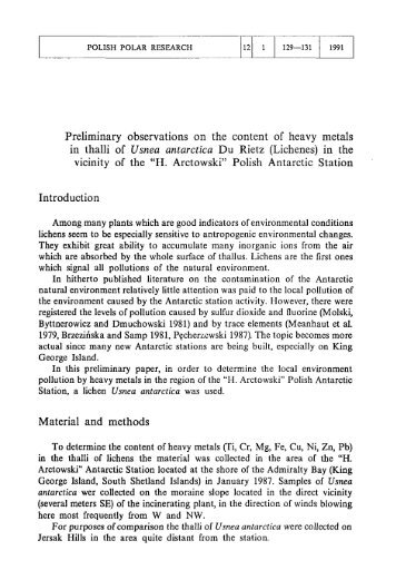 Preliminary observations on the content of heavy metals in thalli of ...