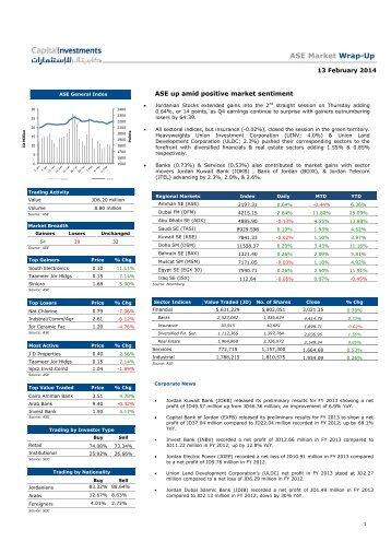 ASE Market Wrap-Up 13 February 2014